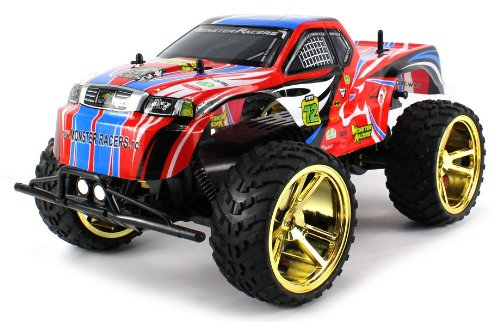 10 Off Road Electric Truck (Big Wheel King Electric RC Truck BIG 1:10 Scale Monster RFS Off Road Ready To Run RTR w/ Working Suspension and Spring Shock Absorbers (Colors May Vary))