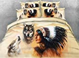 Jameswish 3D Wolf 4-Piece Bedding Sets India Tribal Male Microsoft Feather Decoration Digital Printing Popular Fashion Including 1Duvet Cover 1Flat Sheet 2Pillowcases King Queen Full Twin Size
