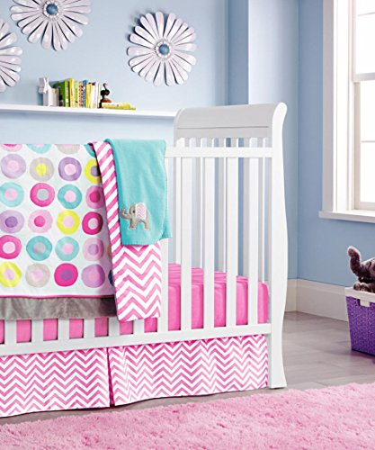 New Pink Baby Girls 10 Pieces Crib Bedding Set With Bumper