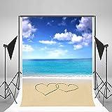 6.5x10ft Lfeey Designed Vinyl Thin Photography Background Seaside Theme Blue Ocean Sand Beach Backdrop,2x3m Photo Studio Props