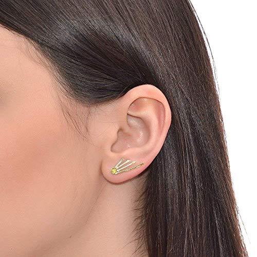3mm Yellow CZ Ear Climber Earring Gold/Post Earrings, Stud earrings ()
