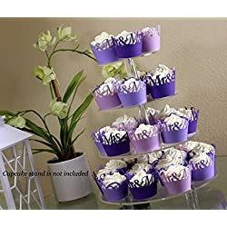 All About Details Purple Ombre Mr & Mrs Cupcake Wrappers Kit, 32pcs