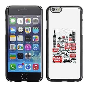 TopCaseStore / la caja del caucho duro de la cubierta de protección de la piel - Symbols Double Decker Big Ben - Apple iPhone 6 Plus 5.5