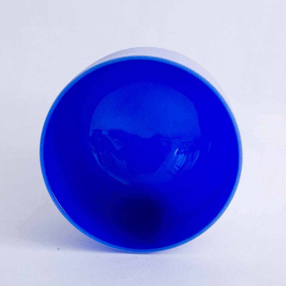 432Hz Perfect Pitch G Note Throat Chakra Blue Colored Frosted Quartz Crystal Singing Bowl 8 inch