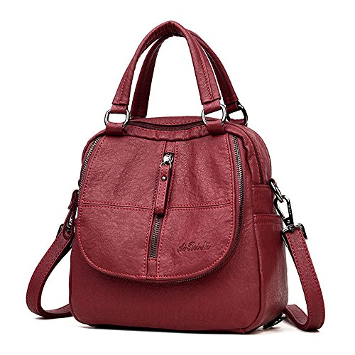 Women Backpack Handbags, YIMOJI Fashion Vintage PU Leather Casual Daypack Small Travel School Bags for Women Girls Red