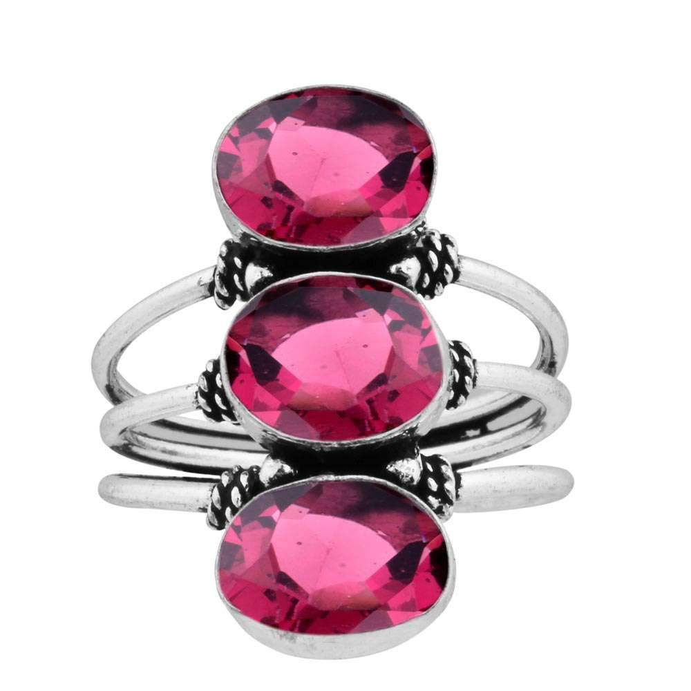 Pink Quartz 8x10mm Oval Handmade Fashion Rings 925 Silver Plated 9.80ct Size9.5
