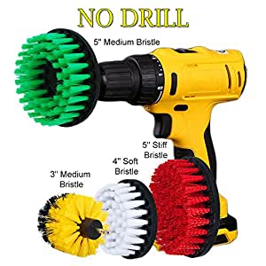 HIFROM 3 4 5inch Soft Medium Stiff Attachment Scrub Powered Drill Brush Cleaning Kit for Pool Tile Flooring Ceramic Marble Grout Siding Garage Cutters Glass Carpets (Pack of 4)