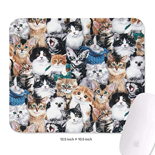 Family Game Office Mouse Pad Cats Breeds Funny Durable Non-Slip Rubber Rectangular Mousepad