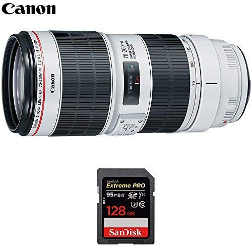 Canon (3044C002AA EF 70-200mm f/2.8L is III USM Telephoto Lens for Digital SLR Cameras with Sandisk Extreme PRO 128GB SDXC UHS-1 Memory Card