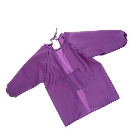 Homyl Niños Pintando Delantal Con Batas Herramientas Manual de Jardin Oficina Hogar - Púrpura
