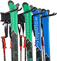 Ski Wall Rack, Holds 4 Pairs of Skis & Skiing Poles or Snowboard, For Home and Garage Storage, Wall Mounte