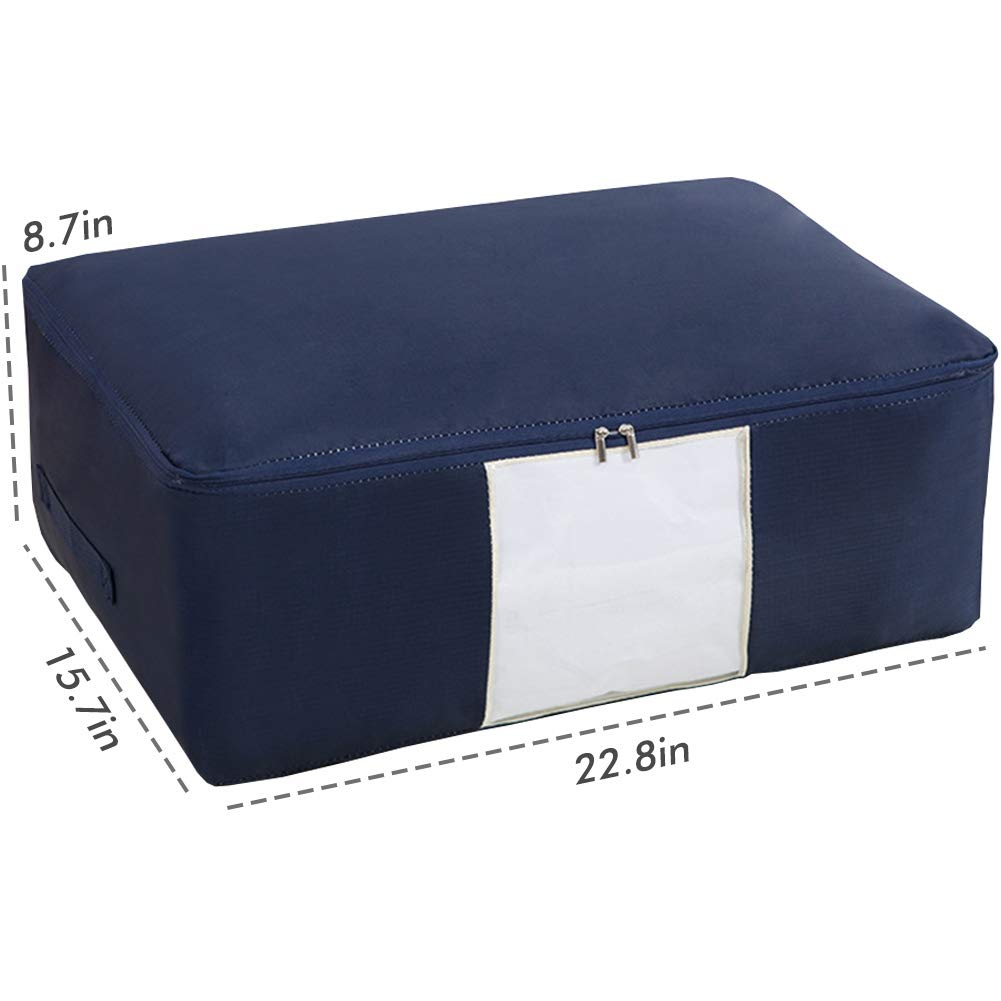 Moistureproof Pillows Sweaters Navy Blue Clothes Blankets Bedding Duvets Quilts 51L Large Capacity 2 Pcs Oxford Fabric Storage Bags for Comforters