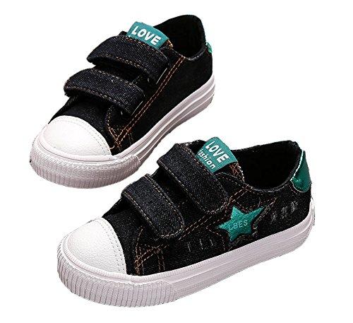 VECJUNIA Kinder Jungen Mädchen Klassischen Denim Low Top Sneakers Outdoor und Sport Flachen School Schuhe Schwarz