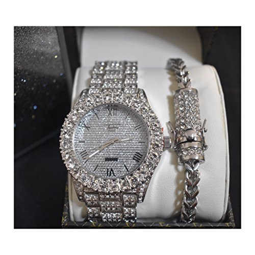 (Mens 14K Plated Toned Fashion Bling Iced Out Heavy Metal Band Watch & Bracelet Set(Silver))