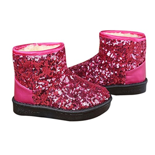 Transer® Babyschuh Sequins Stiefel Kleinkind Kinder Mädchen Casual Warm Weiches Kunstleder Herbst Dick Warm Winter Schnee Schuhe Lauflernschuhe Pink