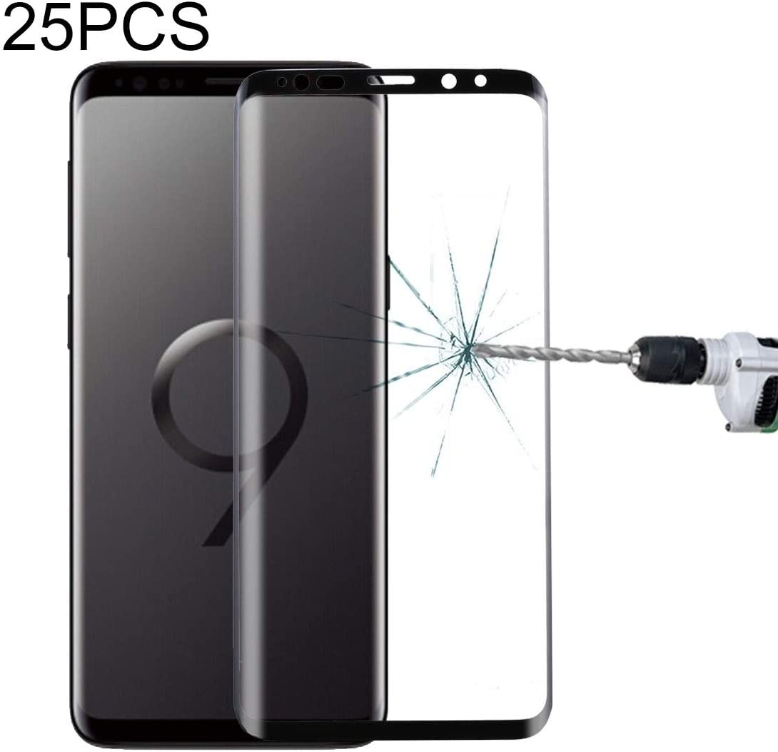 Black Transparent Color : Black HUIFANGBU 25 PCS for Samsung Galaxy S9 Plus 9H Surface Hardness 3D Curved Edge Anti-Scratch Full Screen HD Tempered Glass Screen Protector