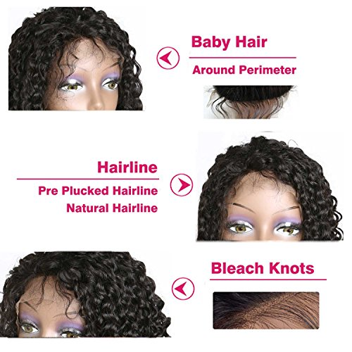 Weave Master Curly Lace Front Human Hair 130% Density Brazilian Remy Wigs with Baby Hair For African Americans Natural Color (16inch) by weave master (Image #4)