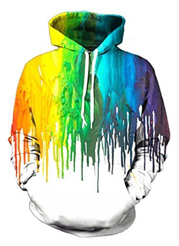 435c7031c Galleon - Uideazone Collage 3D Graffiti Pullover Hoodie Sweatshirt White  Outwear Coat
