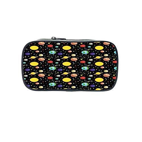 Customizable Pen Bag,Space,Comets and Constellations Stars with Polka Dots Earth Sun Saturn Mars Solar System,Multicolor,for Kids,3D Print Design by iPrint