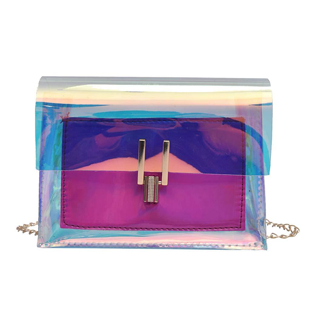 PLENTOP Purses and Handbags 20 Or Less,Computer Bag,Fashion Women's Transparent Crossbody Bags Messenger Shoulder Bag Beach Bag Hot Pink