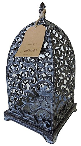 AllAsta Lantern Scroll Metal Tabletop Black with Antique Silver Detail