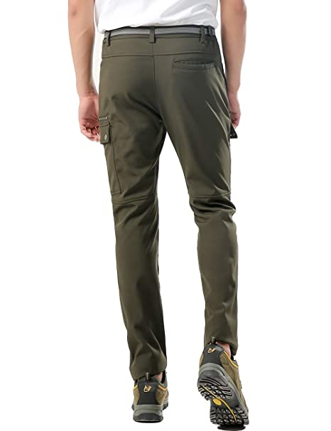DENGBOSN Pantalones de Monta/ña Hombre Impermeables Invierno Calentar Pantalones Trekking Escalada Senderismo Softshell,KZ16607M-Armygreen-XL