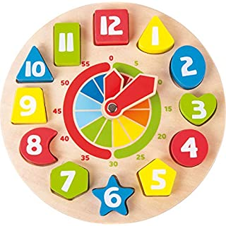 small foot wooden toys Shape Sorting Learning Clock Educational Toy playset Designed for Children 3+