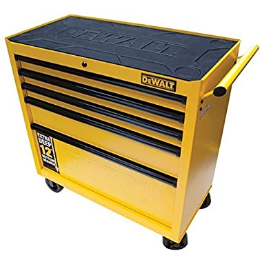 36  5 Drawer Roller Cabinet, Heavy Duty Drawer Slides, 5  X 2  Casters, Auto Return Drawers, Black / Yellow.