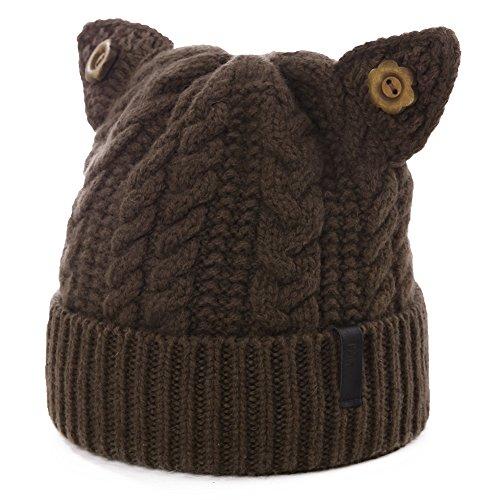 SIGGI Cat Ears Beanie Pussy Cat Hat 100% Wool Ladies Winter Fleece Beanie Hats Warm Knitted Skull Cap (Blended Mild Coffee)