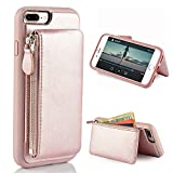 iPhone 8 Plus Zipper Wallet Case, iPhone 7 Plus Leather Case with Kickstand, LAMEEKU Protective Apple 7 Plus Credit Card Holder Slot Cases, Leather Cover for Apple iPhone 7 Plus/8 Plus 5.5''- Rose Gold