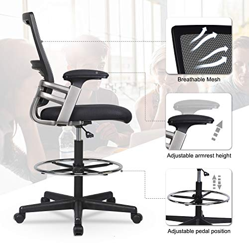 Mid-Back Mesh Drafting Chair Tall Office Chair Swivel Rolling Executive Chair for Adjustable Standing Desks with Lumbar Support, Adjustable Armrest & Foot Ring (Black)