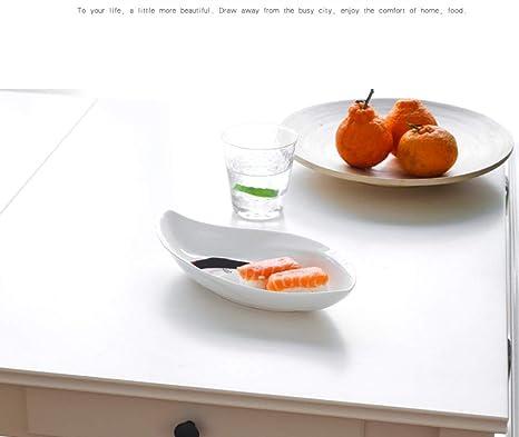 Happiness Tableware LIXUE Separador de Sauce de Placa de Porcelana Blanca 26.4 * 13.2 * 4.9CM: Amazon.es: Hogar