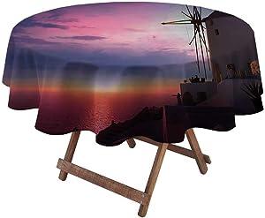 "Outdoor Round Tablecloth Windmill Decor for Garden Patio Party Tabletop Beautiful Oia Village Santorini Island Greece Colorful Sky Idyllic Aegean 54"" Diameter Multicolor"