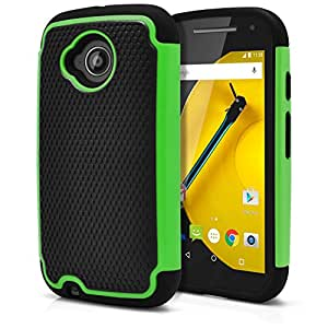 Moto E 2nd Gen Case, MagicMobile [Dual Armor Series] Hybrid Impact Resistant Moto E 2nd Generation Shockproof Tough Case Hard Plastic with Silicone Protective Case for Moto E 2 (2015) [Black / Green]