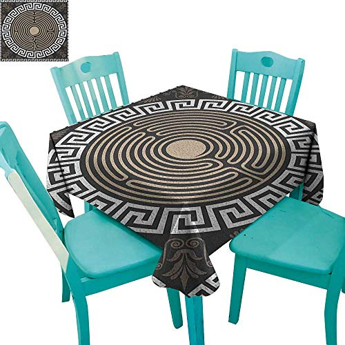 "longbuyer Greek Key,Customized Tablecloth,Grecian Fret and Wave Pattern on Dark Background Antique Retro Swirls,54""x54"",Suitable for Kitchen, dustproof Desktop Decoration"