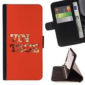 BullDog Case - FOR/LG G2 D800 / - / vintage cool old school red text orange /- Monedero de cuero de la PU Llevar cubierta de la caja con el ID Credit Card Slots Flip funda de cuer