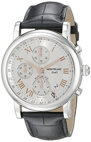 Montblanc Star Chronograph Gmt Mens Black Leather Strap Swiss Automatic Watch 36967