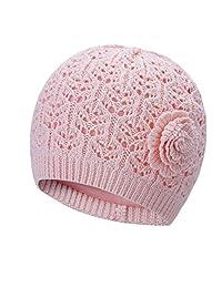 Vivobiniya Newborn Baby Girl Hollow out Flower Knitted cap pink and white