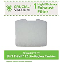 1 Dirt Devil Foam Exhaust Filter, Fits Dirt Devil Easy Lite Canister Vacuums, Compare to Part # 2KQ0104000, Designed & Engineered by Crucial Vacuum