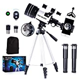 FREE SOLDIER Telescope for Kids&Astronomy Beginners - 15X-150X High Magnification Astronomical Refractor Telescope Portable Travel Telescope for Adults Great Astronomy Gift for Kids, White (Color: White)
