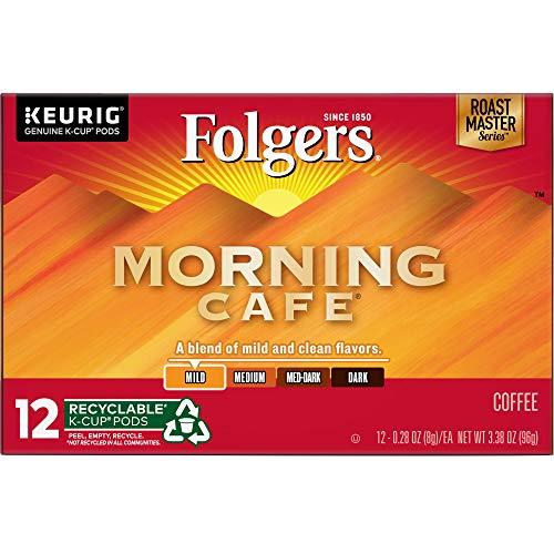 Folgers Morning Café, Mild Roast Coffee, K Cup Pods for Keurig K Cup Brewers, 12Count (Pack of 6) (Keurig Mild Coffee)