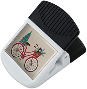 Christmas Bicycle Bike and Cat in Basket Refrigerator Fridge Magnet Magnetic Hanging Hook Note Snack Clip
