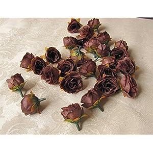 XGM GOU 100Pcs/Pack Solid Colors Small Tea Rose Heads Wholesale Cream Flower Buds Artificial Silk Flowers DIY Bouquets Home Decoration 4