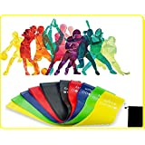 Resistance loop bands - Set of 5 - 12 inch Fitness Bands - Premium High Quality, Comes with a Travel Bag, durable, Latex free Exercise Bands for Yoga, Pilates, Strength Training, Stretching, Power Lifting, Mobility Training, Crossfit, Workout, Physical therapy, Best Home Gym Fitness - Pull Up Bands for Legs, Arms, Knee, Thigh, Glute Activation -