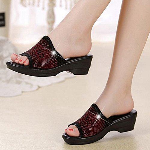 Strass Sandales Bas Talons de Femmes Scintillante Plate Noir Robe Forme antidérapant Rouge Confort Glissent Les de Sandales cWnzxFgz