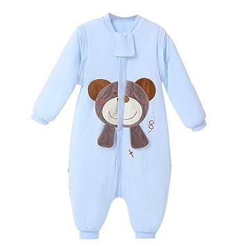 61e21c5ea566b5 baby schlafsack winter mädchen junge schlafanzug baumwolle 2.5 tog mit  Bein,bar. (M:80cm(6-18Monate), Blau Bär)