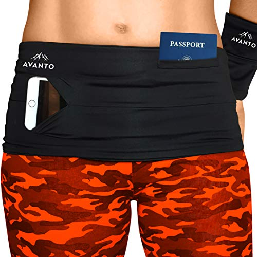 AVANTO Slim Fit Running and Money Belt with Free Wrist Wallet, Waist and Fanny Pack for Travel, for Women and Men, Comfortable Like Second Skin, Black, M