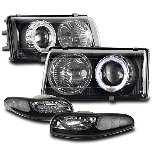 ZMAUTOPARTS 1997-2004 Chevy Corvette C5 Halo Black Projector Headlights Headlamps Lamps with Bumper Lights - Chevy Corvette Projector Headlights