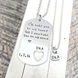 Long Distance Relationship Gift Hand Stamped Necklace Stainless Steel Personalized
