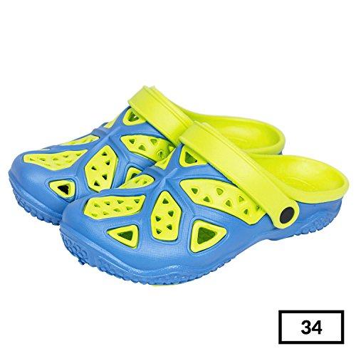 Sabot zoccoli slip on ciabatte in materiale EVA per bambini, taglia 34, colore: azzurro / lime